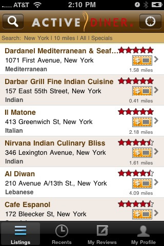 ActiveDiner iPhone Listing